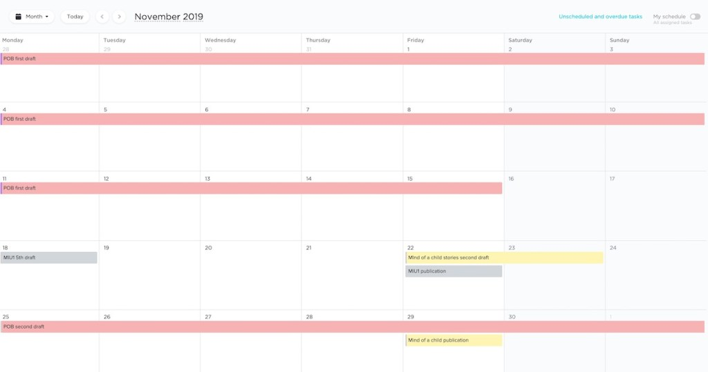 Clickup Calendar view - great for writing projects