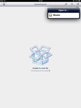 Open an eBook in Dropbox