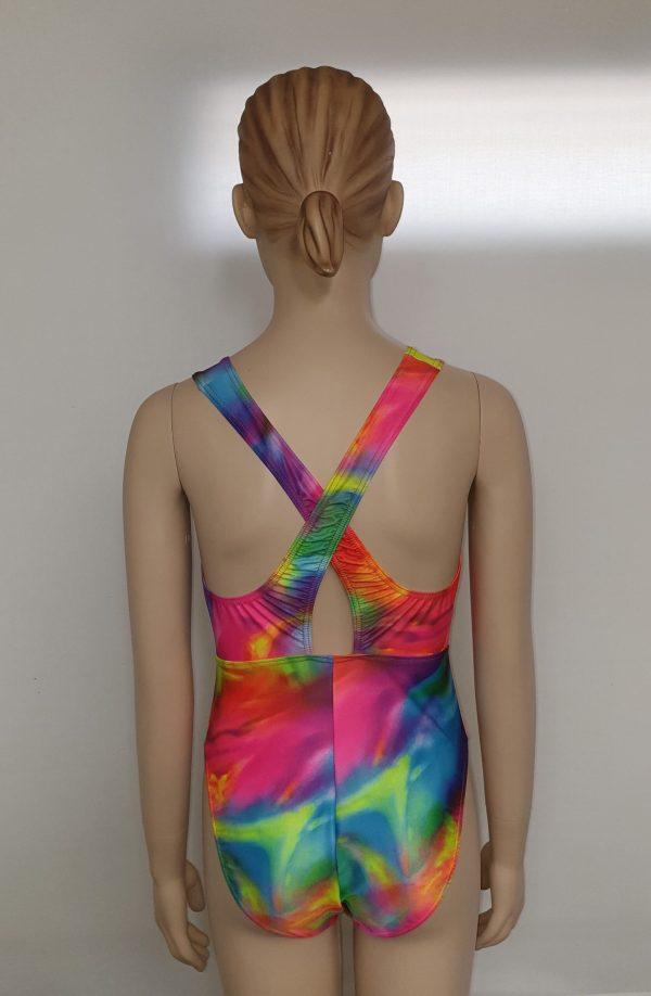 Amelia Leotard - in tie dye nylon [back view]