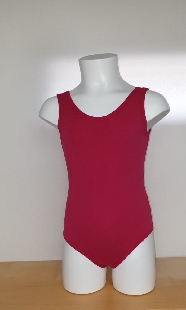 Red Leotard with narrow straps - Front View