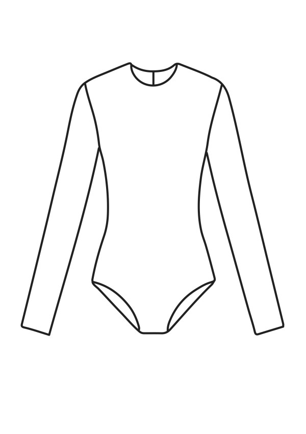 line drawing of a long sleeve leotard