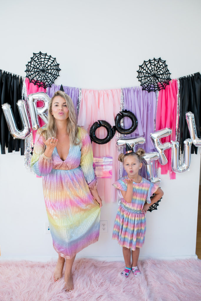 halloween, halloween decor, halloween 2019, halloween decorations, kids halloween party, kids party decorations, colorful halloween party, boo halloween balloon, rainbow halloween, rainbow halloween party, 2019 halloween trend, rainbow dress, rainbow dresses, matching dresses, matching outfits, mommy and me matching dresses, mini me, matching halloween costume, mommy and me halloween costume