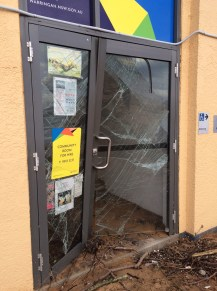 The Collaroy Beach Surf Club entrance was smashed by waves