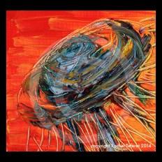 """Solar Jelly,"" Acrylic on Canvass, 10x10, Copyright 2014"