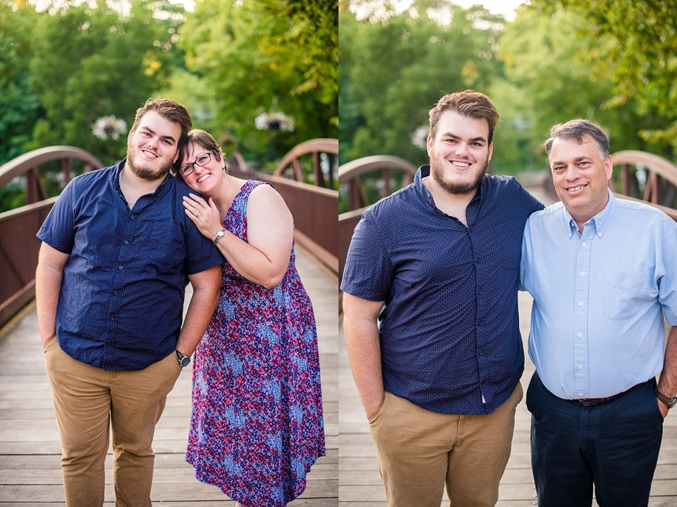 mother with son and father with son side-by-side portraits