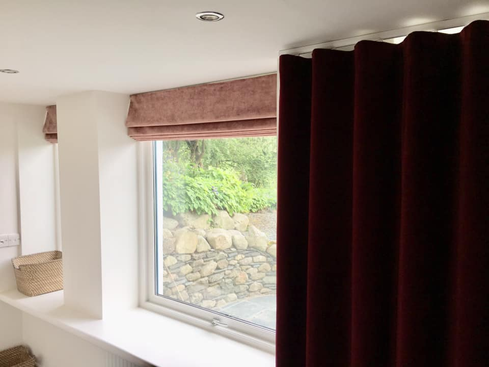 Wave curtains and Roman Blinds