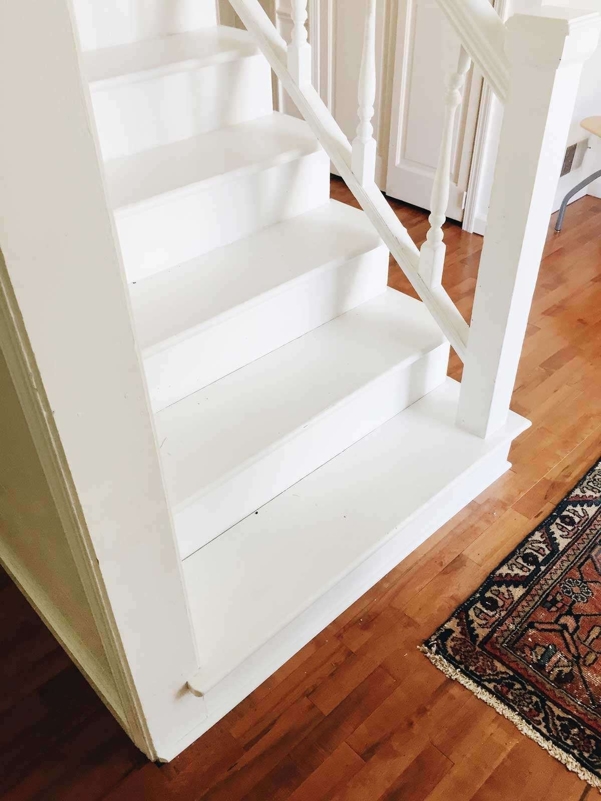 Rachel Schultz Painting A Staircase White | White And Wood Stairs | Non Slip | Foyer | Simple | Solid Wood | Indoor