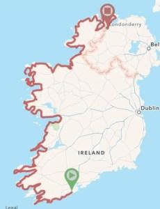 A map of Ireland's Wild Atlantic Way Audax WAWA