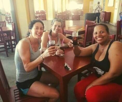 Drink with local friend on cycling trip in cuba