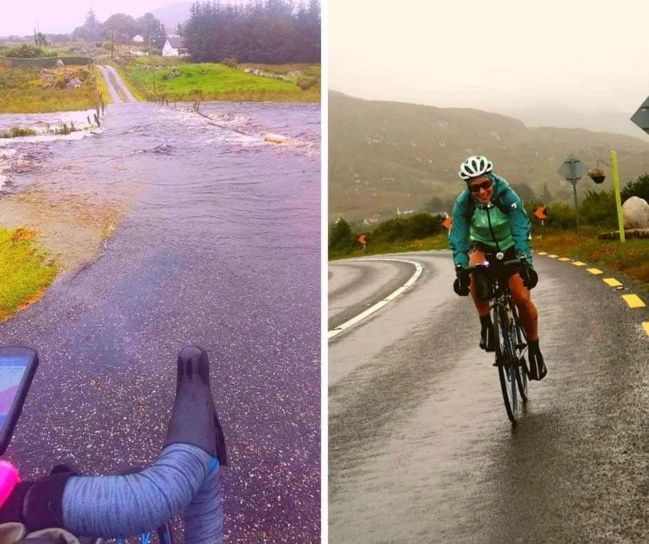 A flooded road. Rachel training on the bike during a storm