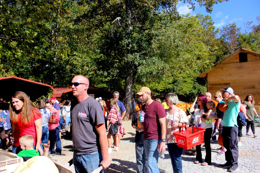 Families line up at the checkout stall with their pumpkin picks at Burt's Farm. Many families drive from all over to the Dawsonville, Ga. farm.