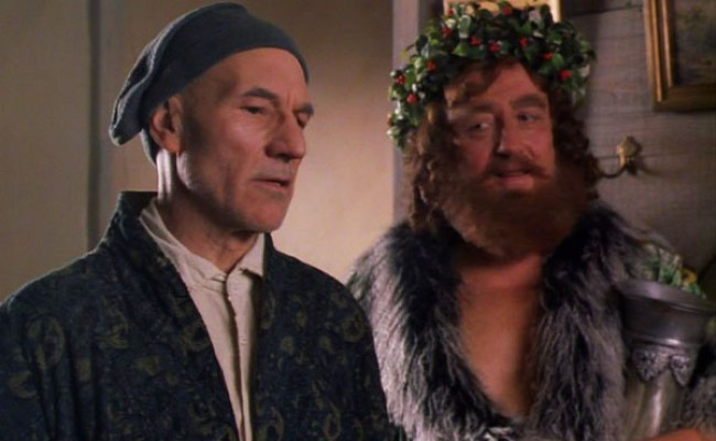 christmas-carol-1999-patrick-stewart-scrooge-desmond-barrit-ghost-of-christmas-present