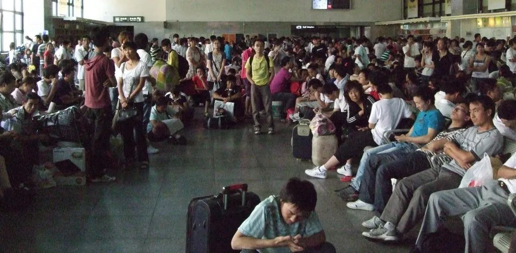 We had to literally shove our way out of this waiting room in a train station in Datong.