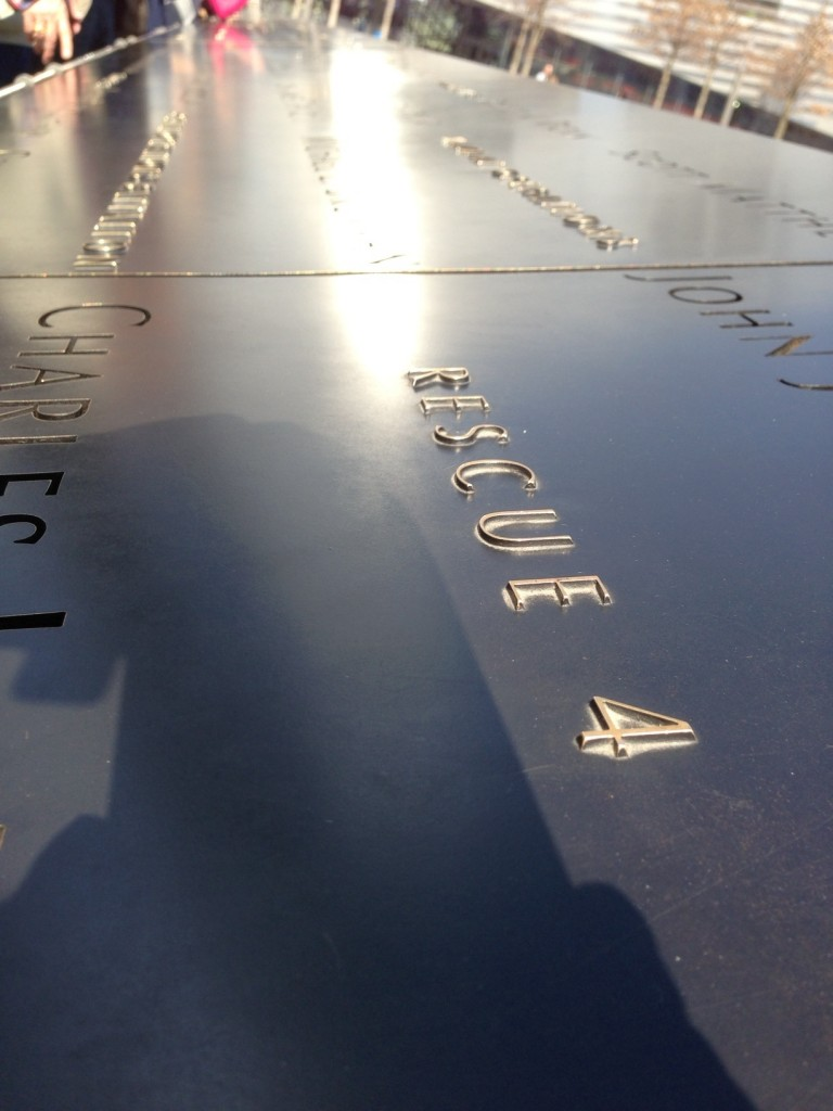 a detail of the 9/11 memorial in New York City