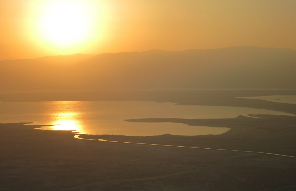 just after sunrise, as seen from Masada