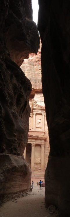 The treasury at Petra, as you approach it through the Siq
