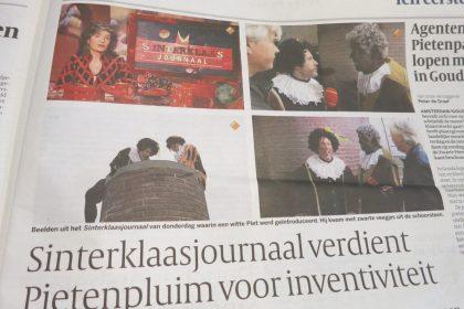 newspaper article about the Sinterklaas news program