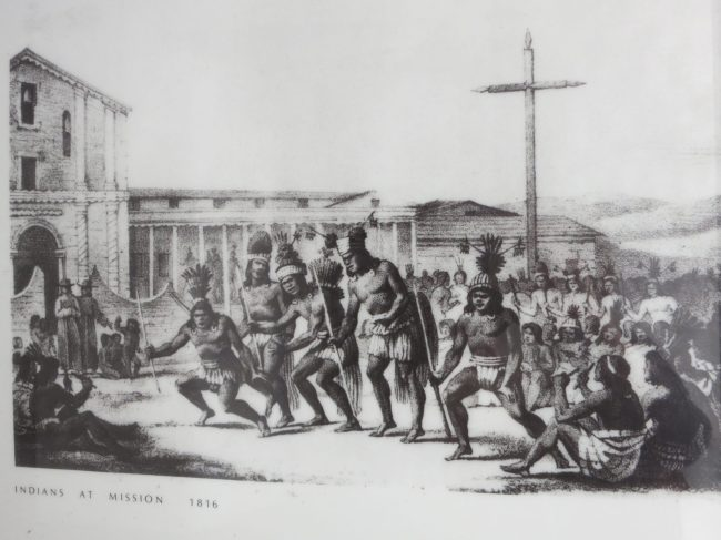drawing of Native Americans at Mission Dolore