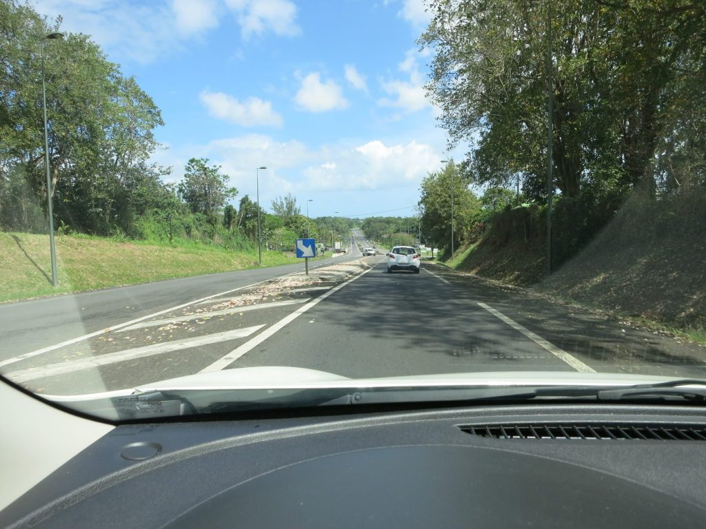 view of a road seen from a car in Guadeloupe