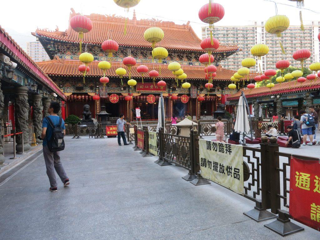 People praying at Man Mo Temple in Hong Kong