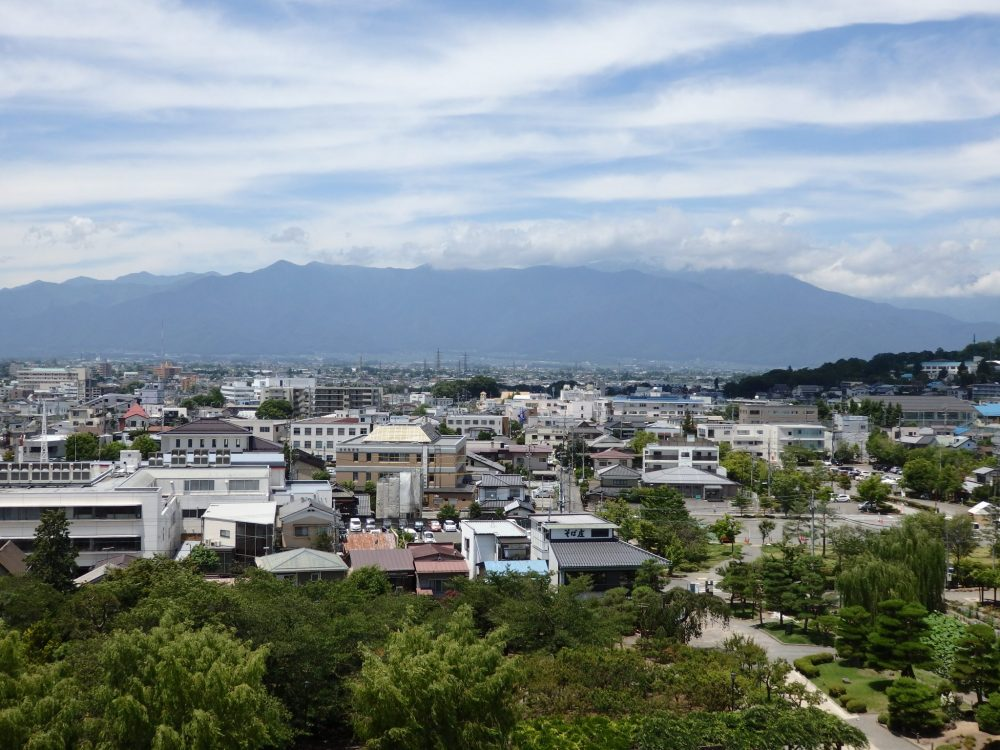Matsumoto Castle affords views over the whole city of Matsumoto to the mountains beyond.