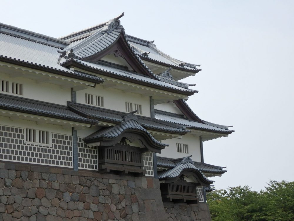 a closer look at one end of the warehouse building at Kanazawa Castle