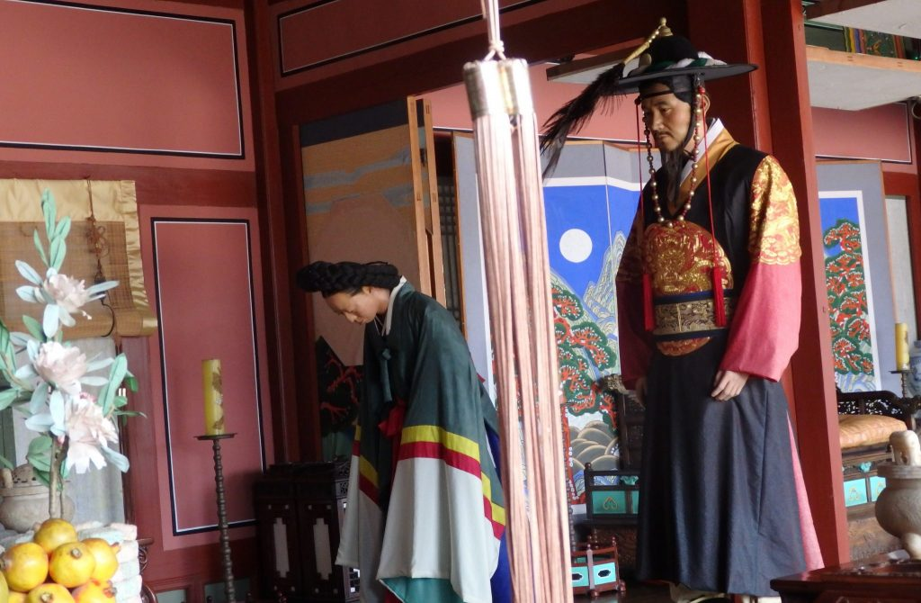 part of one of the set scenes, showing visitors bowing, in the palace in Suwon, South Korea