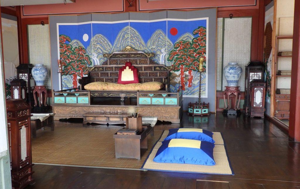 a furnished royal reception room in Hwaseong Haenggung Palace, in Suwon, South Korea