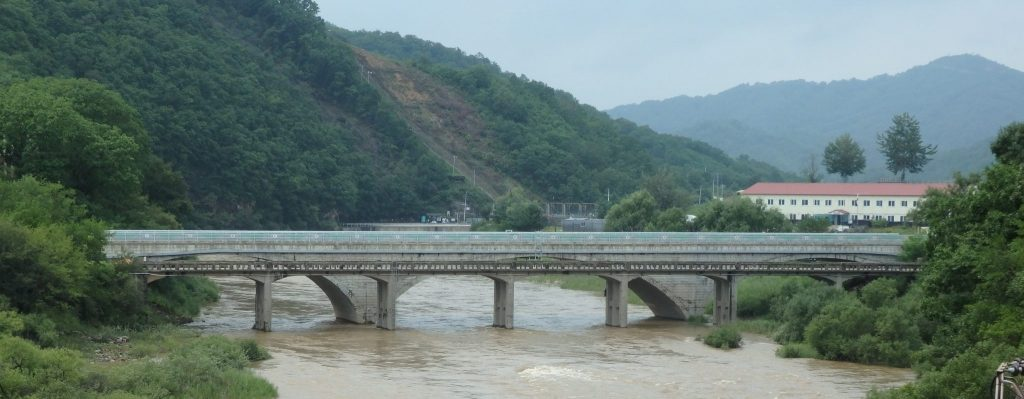 The bridge we drove across, with the ruined one right next to it, near the DMZ.