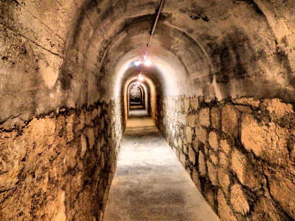 the entrance tunnel to Refugio de Cervantes bomb shelter in Alcoy, Spain