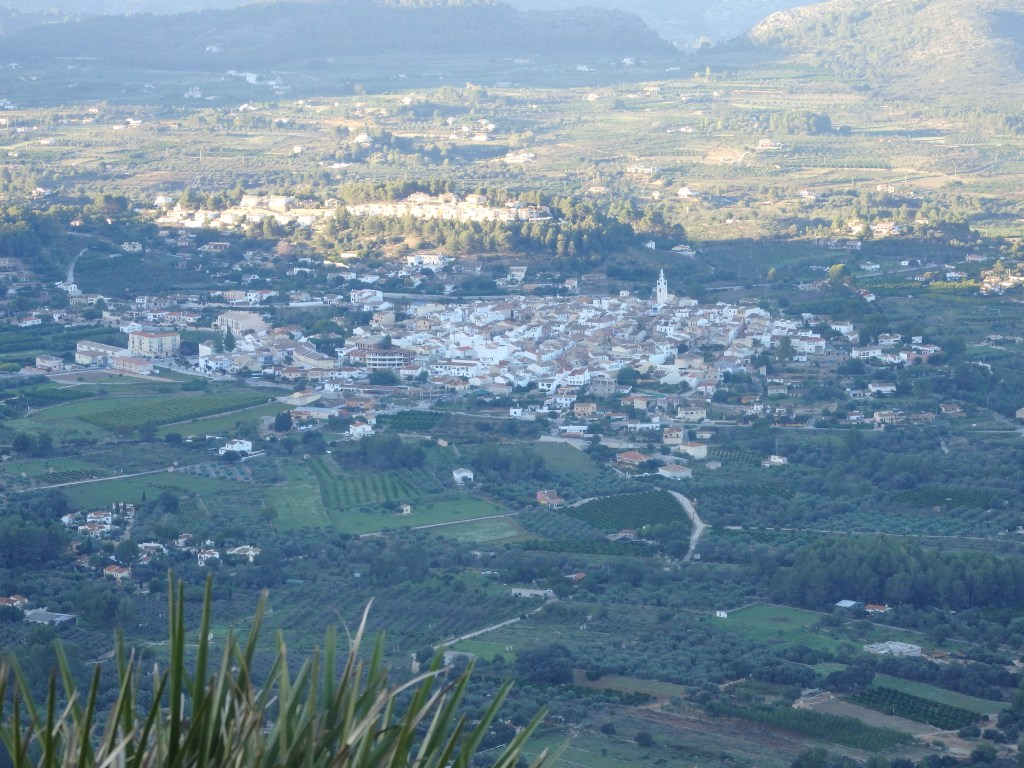 a view of a village from up in the mountains in the Costa Blanca, Spain