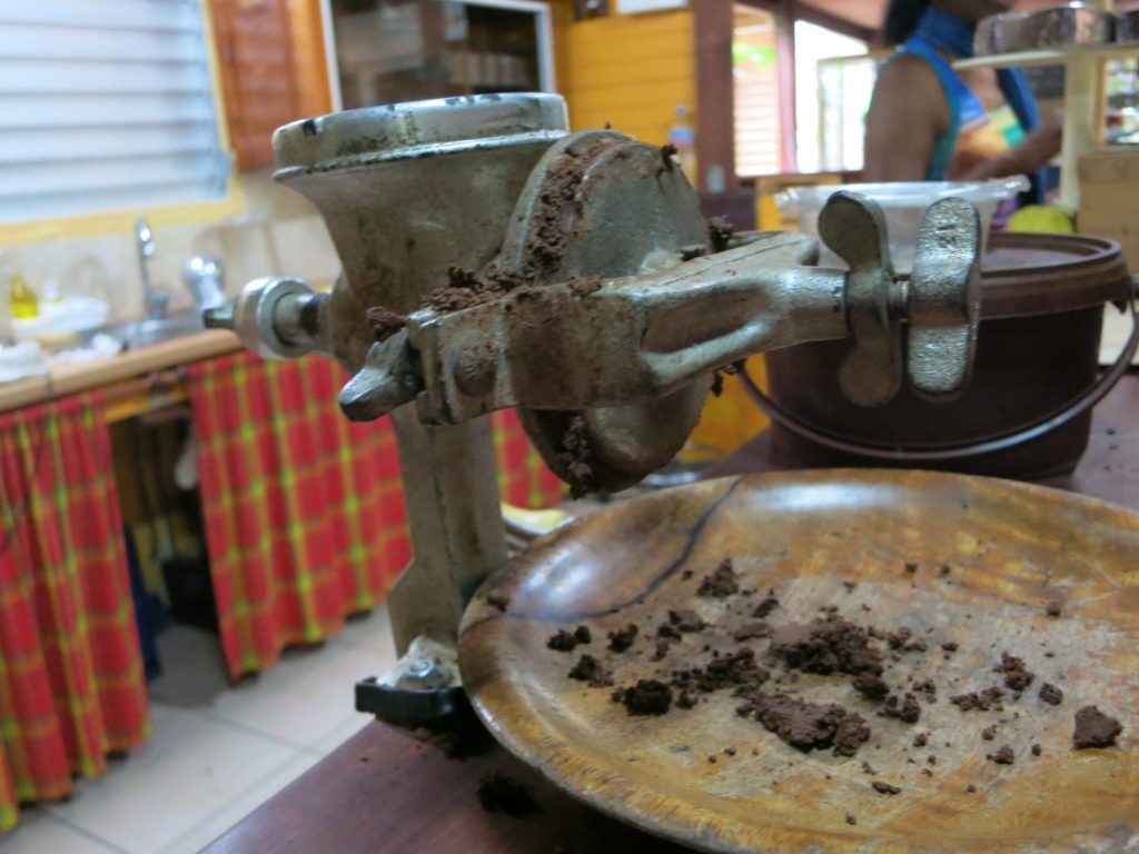 a hand mill used to demonstrate how the cacao is processed into chocolate at La Maison du Cacao in Guadeloupe