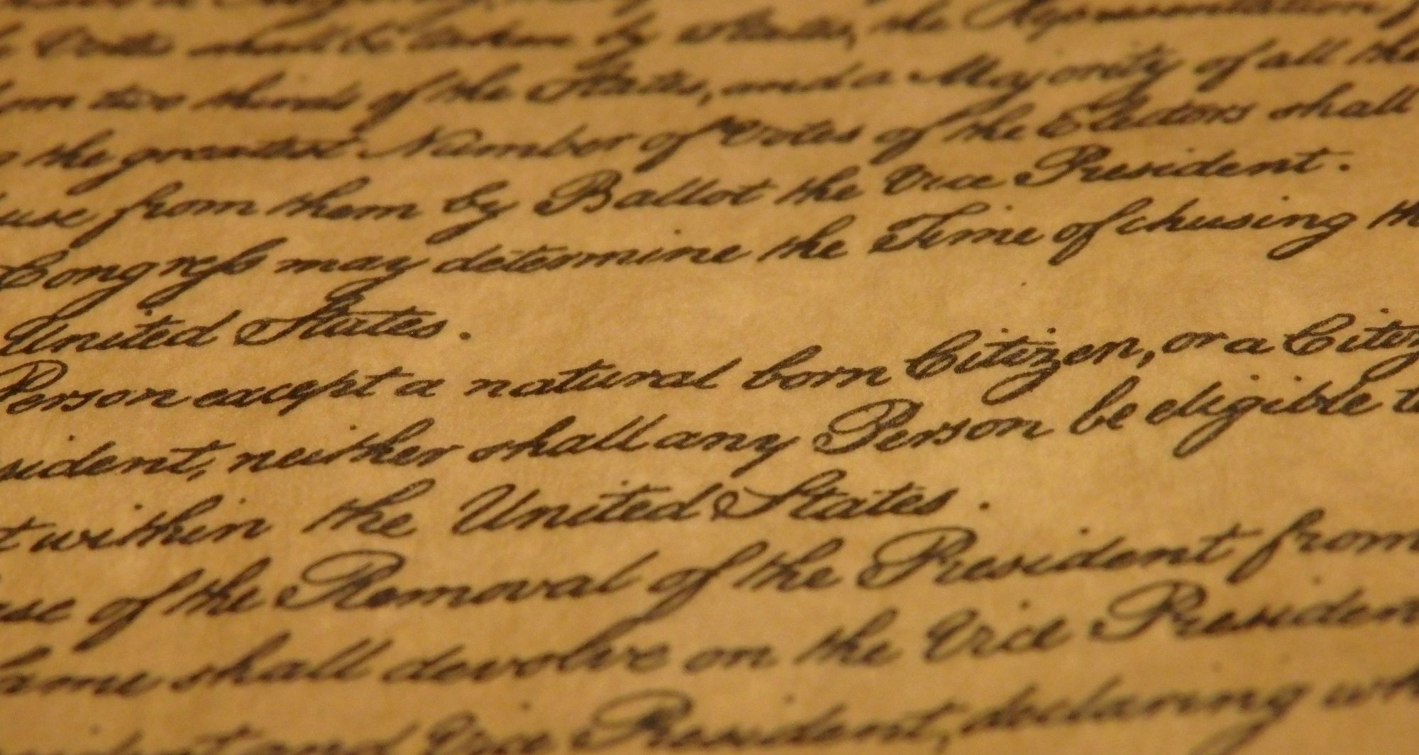 """a snippet from the Constitution mentioning that a person has to be a """"natural born Citizen"""" to be President of the US."""