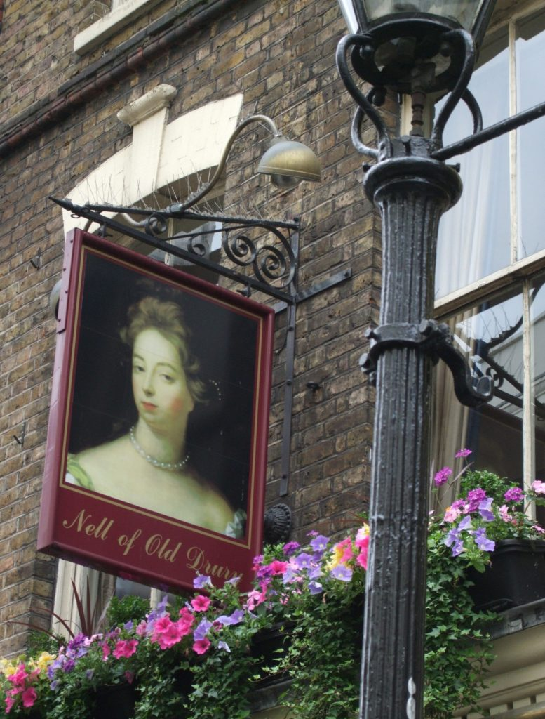 the sign for the Nell of Old Drury pub in London