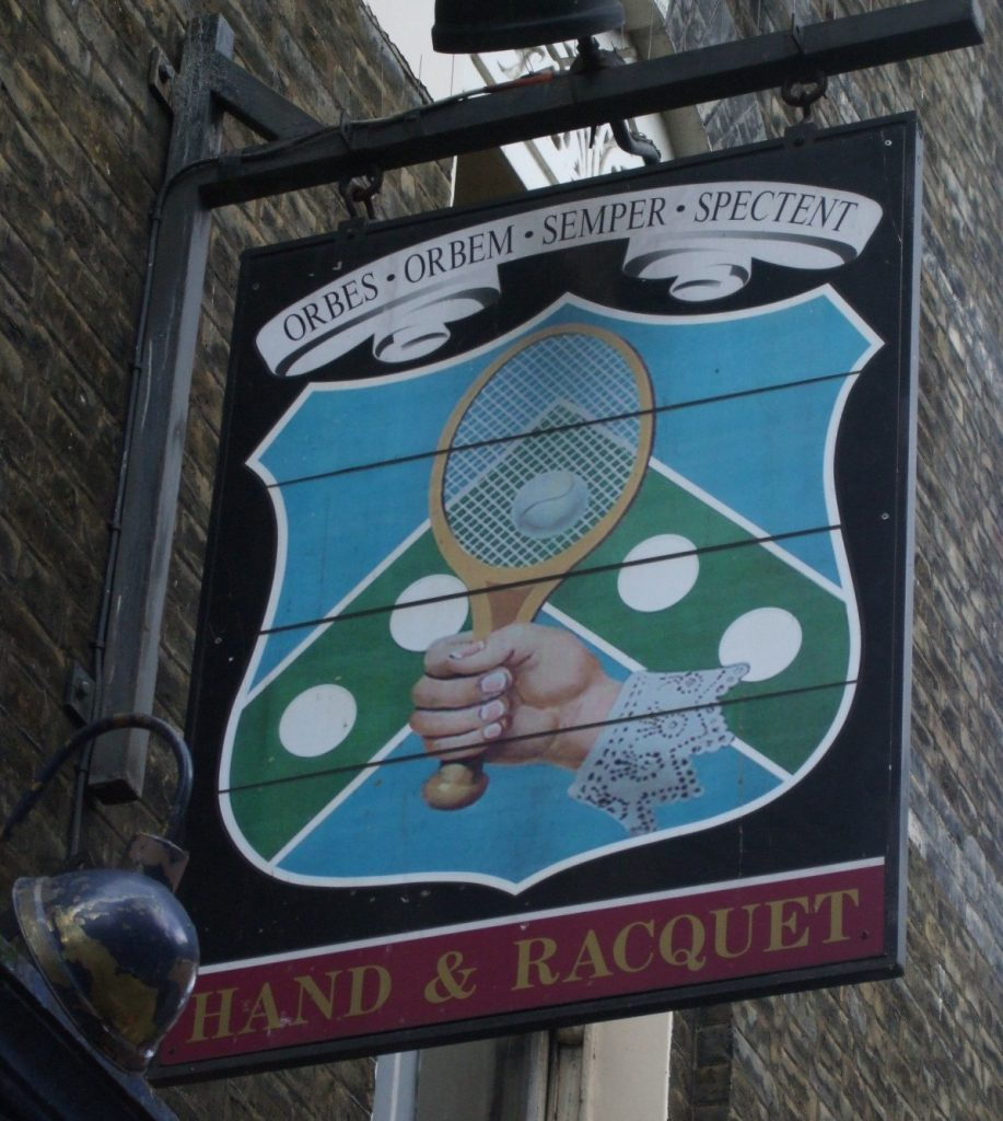 The sign for the Hand and Racquet pub in London