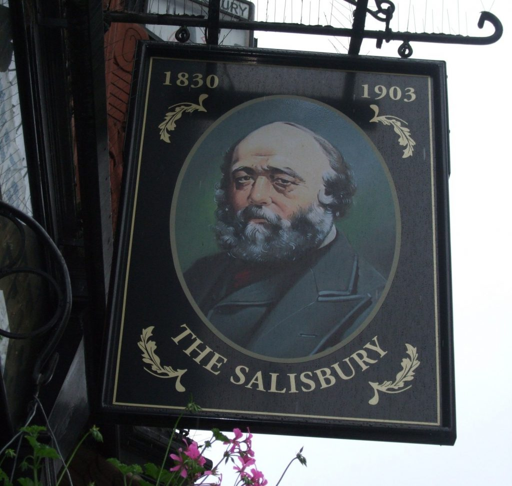 Pub sign for The Salisbury in London
