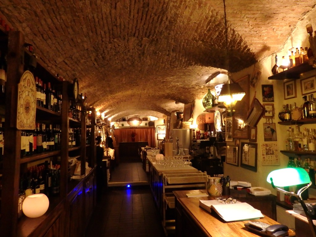 The entry hall of Osteria de Poeti in Bologna, Italy