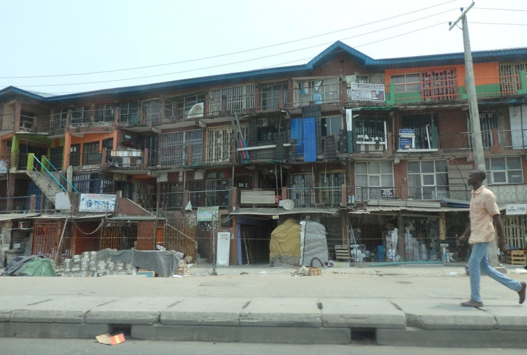 I'm not sure, but I think this building in Lagos, Nigeria, is a shopping mall, rather than housing.