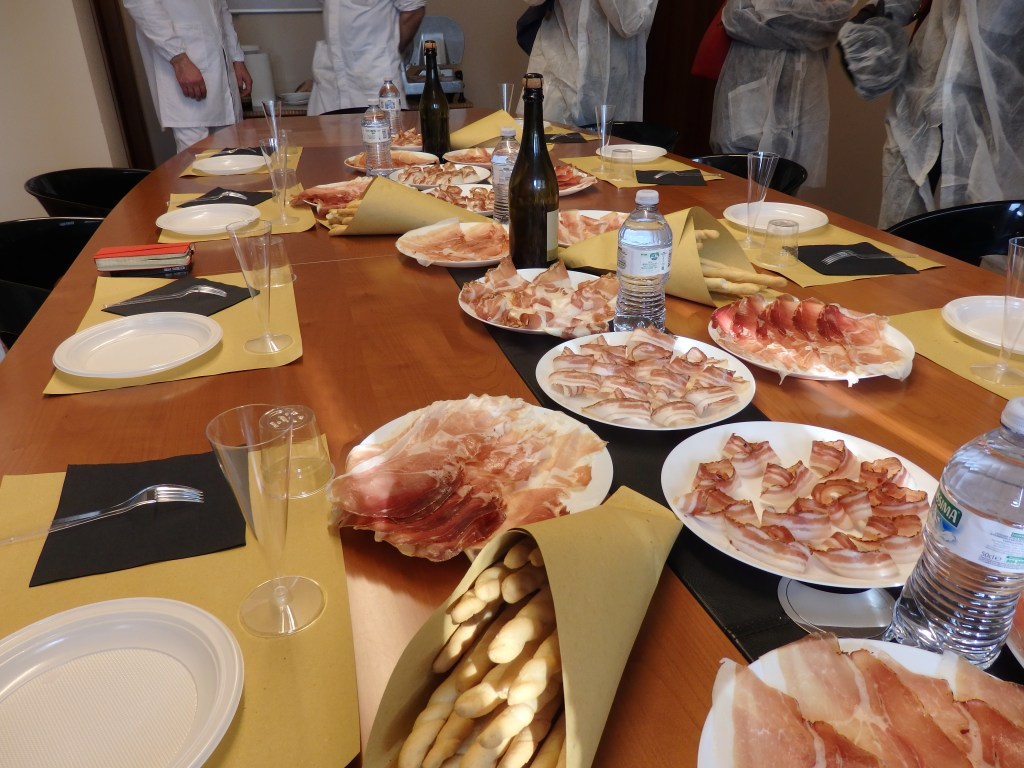 """the """"tastes"""" after the prosciutto factory tour, seen on the Italian Days Food Tour"""