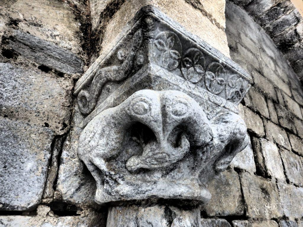 detail of the exterior of St. Andreu in Salardu, Val d'Aran, Spain