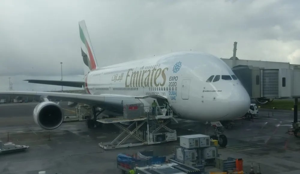 The Emirates A380 at Schiphol Airport