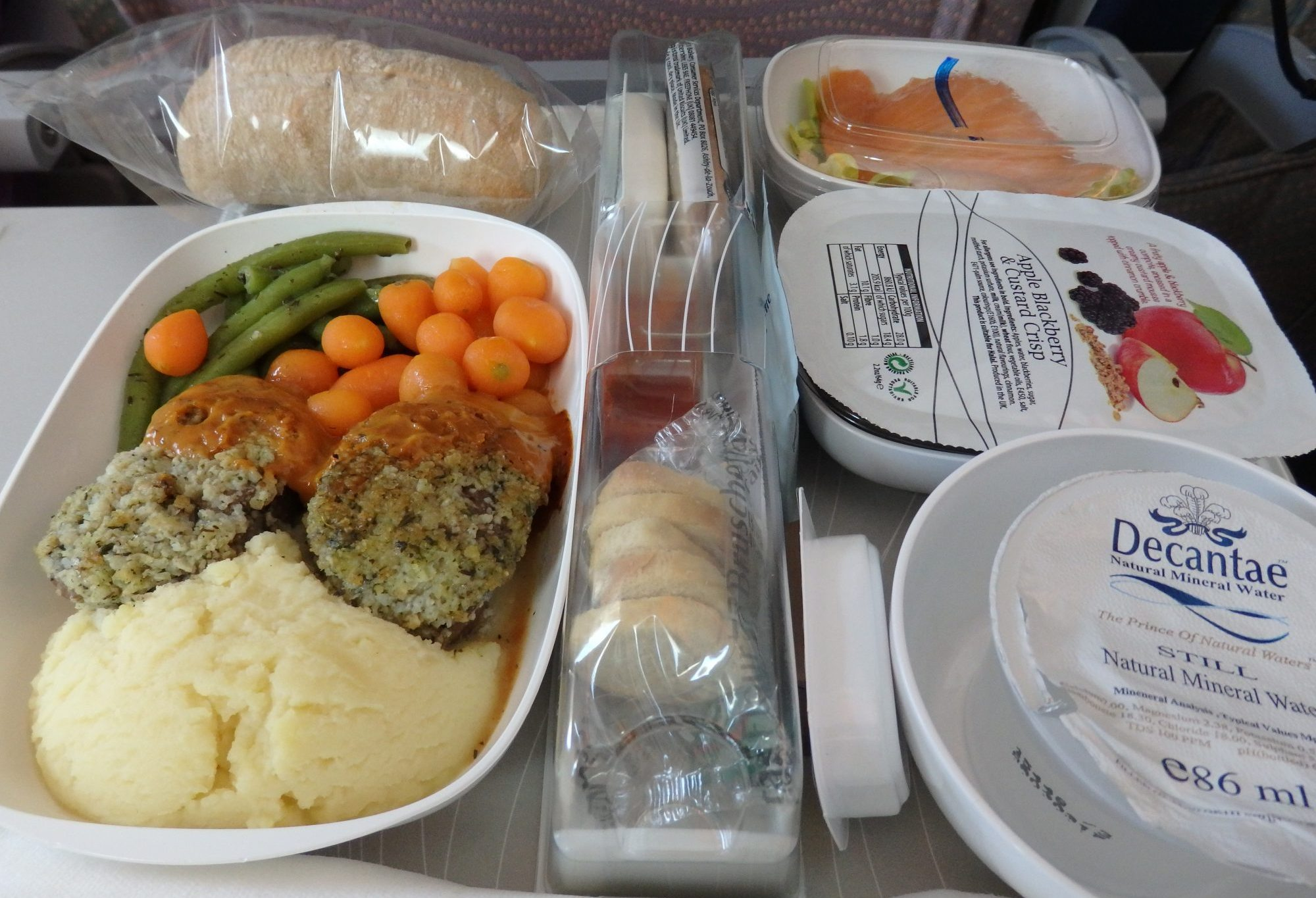 My dinner on an Emirates A380 flight. The box in the center contains snacks for later.