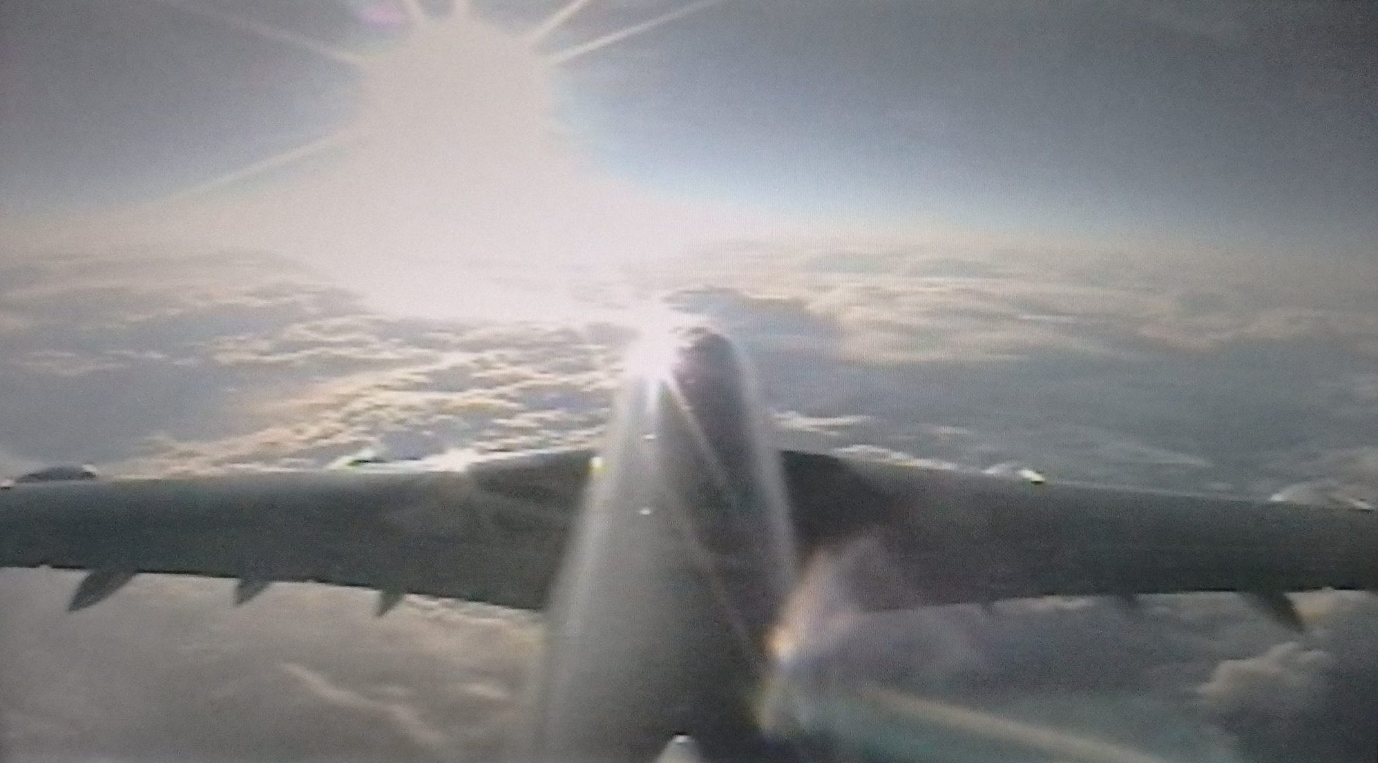 """One channel, called """"airshow,"""" lets you view the flight through cameras on the exterior of the plane: looking down, looking up, or this one, looking forward from the tail."""