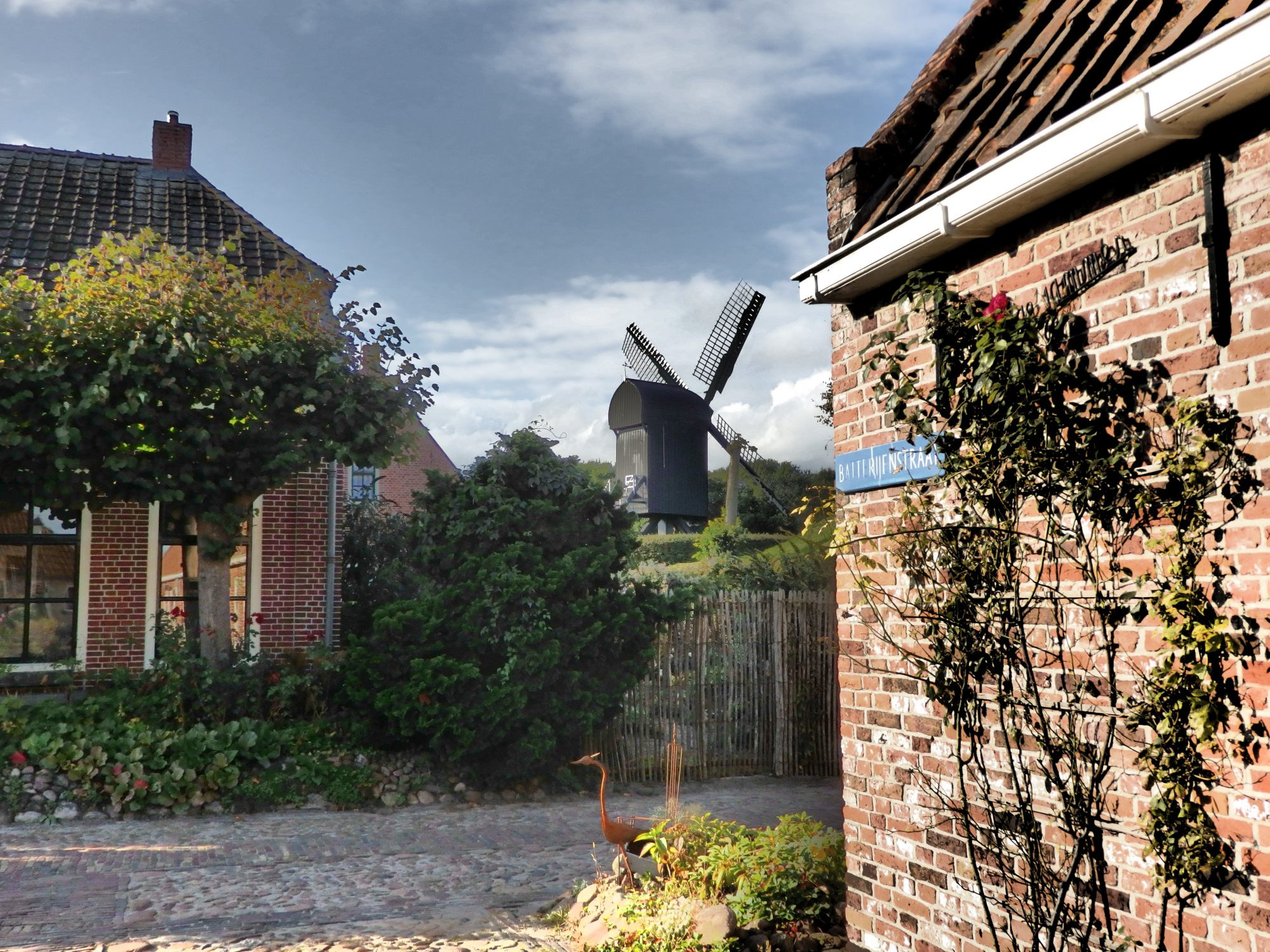 a view of the windmill on the wall of Bourtange