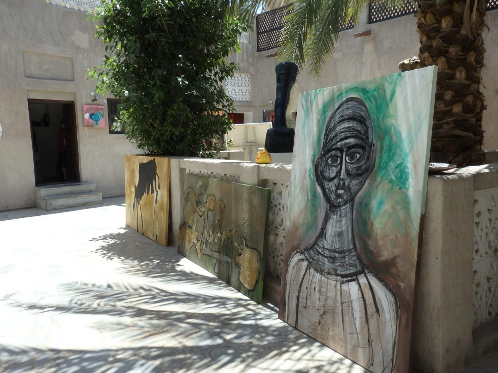 paintings in the Mahaweb from Beautiful Peoplegallery in the Bastakiya section of Old Dubai