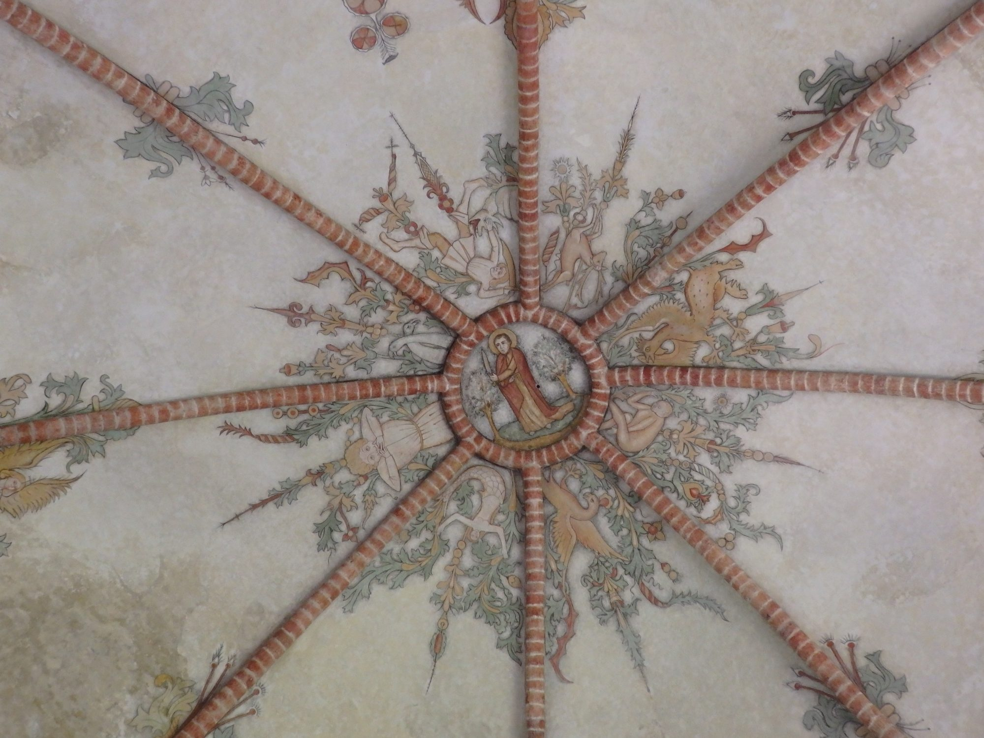 a ceiling fresco at the top of a dome in Stedum church in Groningen province