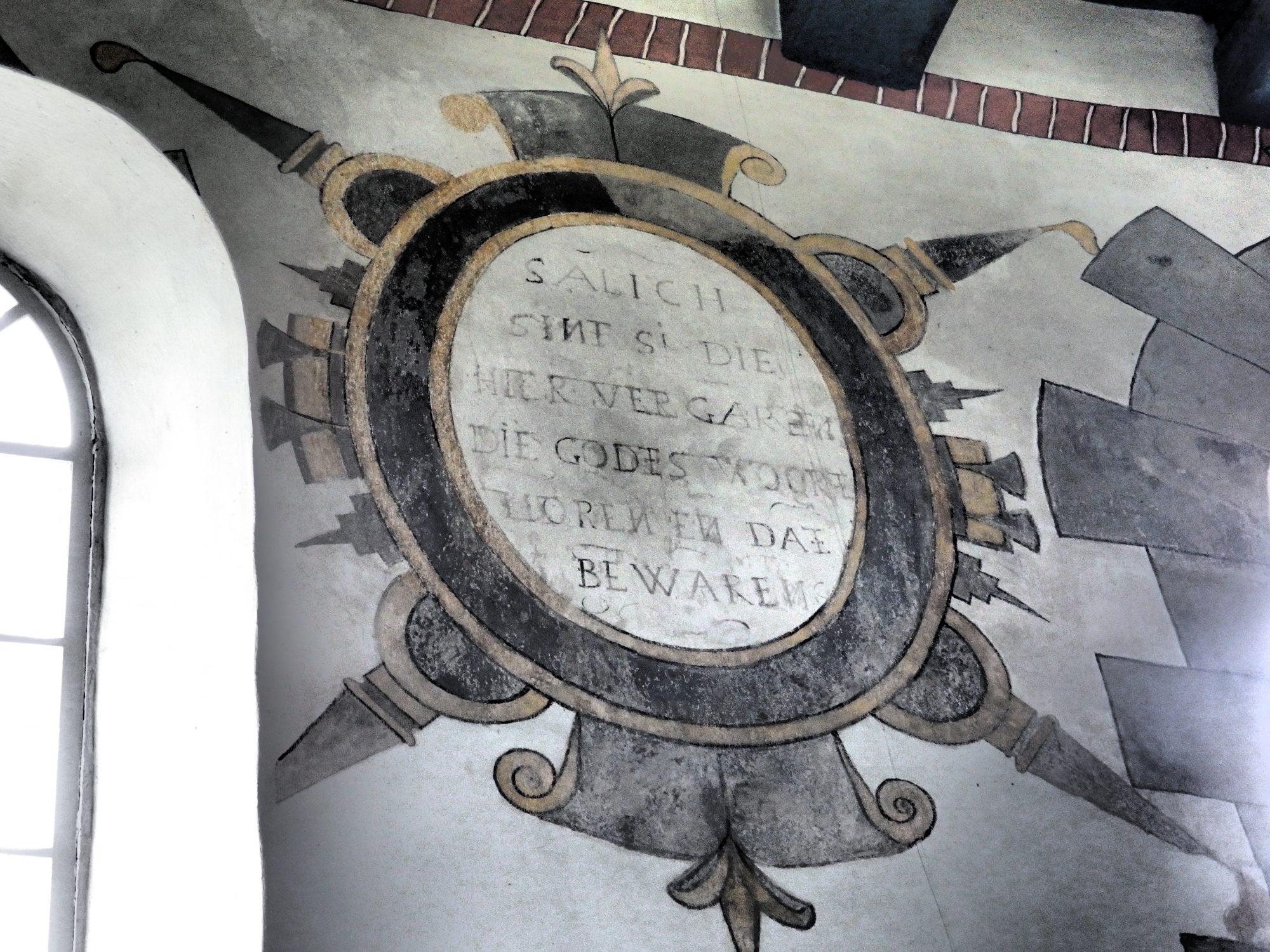 a restored fresco in Eenrum church in Groningen province