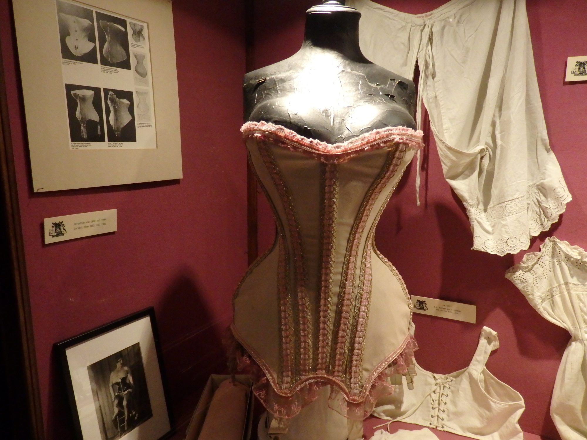 a corset on display in the Sex Museum in Amsterdam