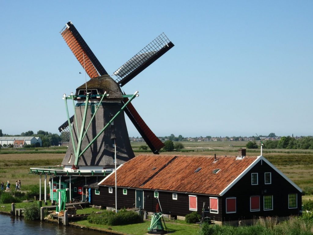 The windmill has an octagonal shape, wider at the bottom than the top. It is covered with thatch. On the back (from this view) are the four windvanes and their sails are unfurled on the windvanes. In front of it is a long low brown building with a low peaked red roof.