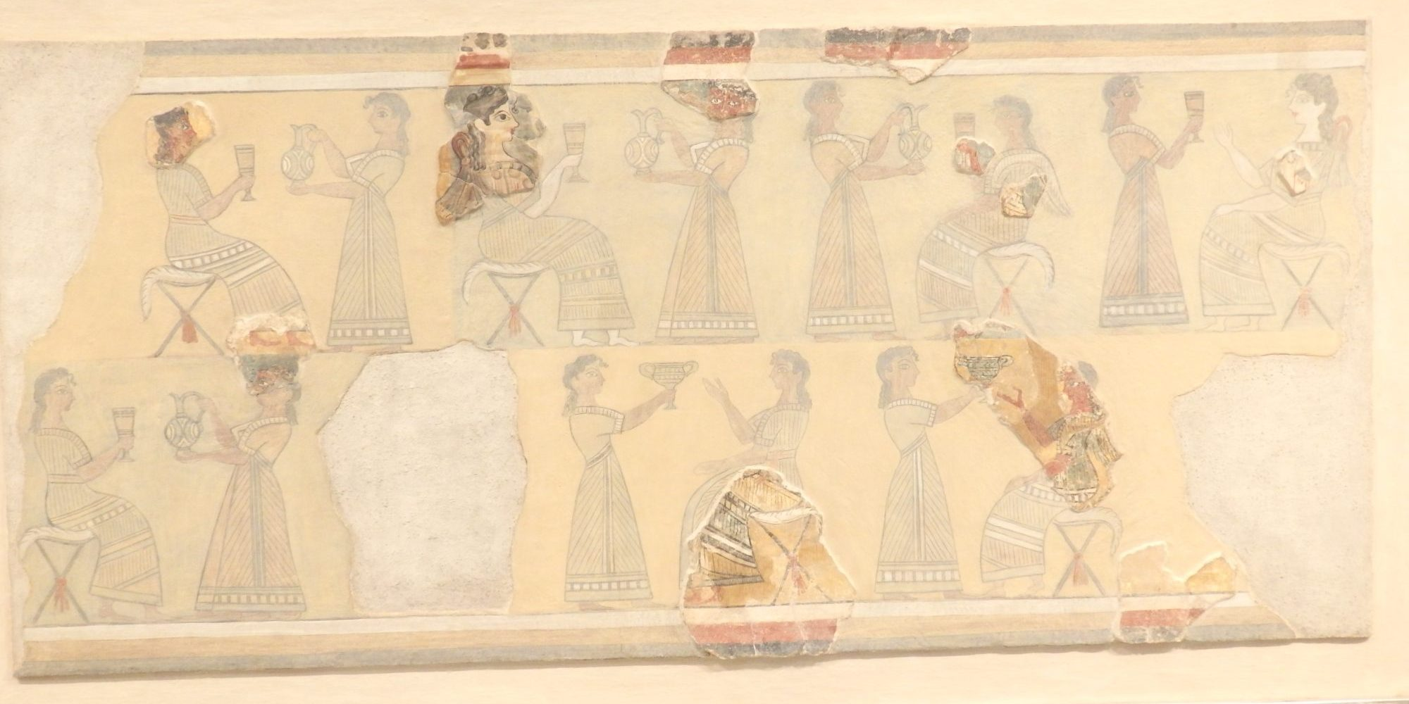a fresco from Knossos in the museum. You can see how very little of it remains.